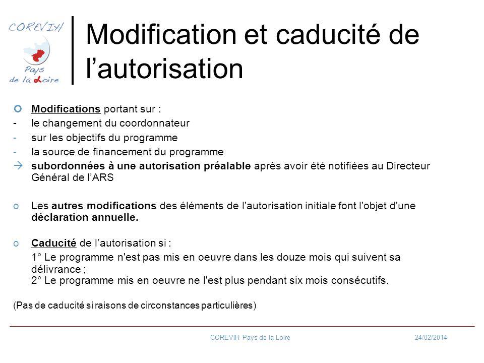 Modification et caducité de l'autorisation