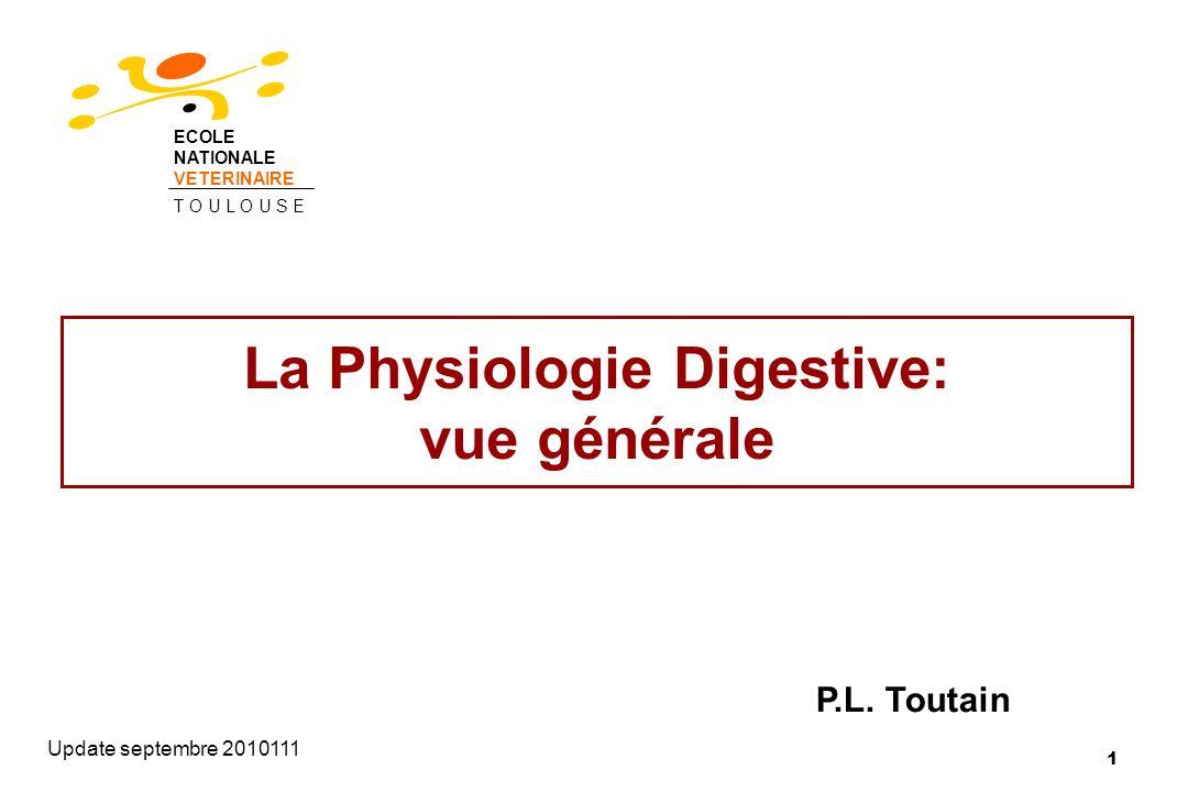 La Physiologie Digestive: vue générale