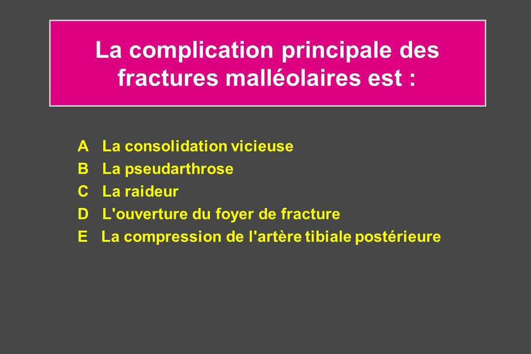 La complication principale des fractures malléolaires est :