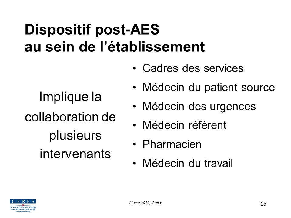Dispositif post-AES au sein de l'établissement
