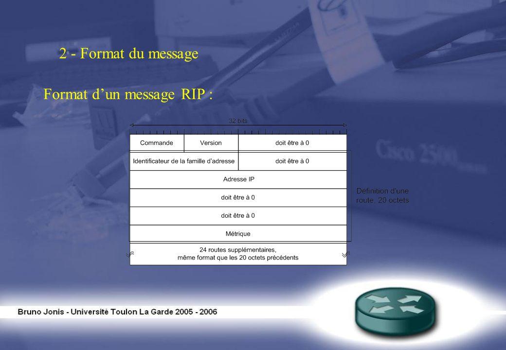 2 - Format du message Format d'un message RIP :