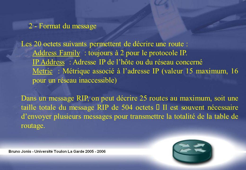 2 - Format du messageLes 20 octets suivants permettent de décrire une route : Address Family : toujours à 2 pour le protocole IP.