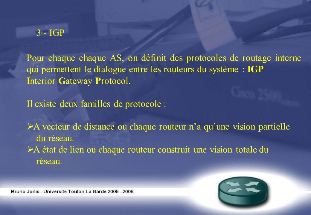 3 - IGPPour chaque chaque AS, on définit des protocoles de routage interne qui permettent le dialogue entre les routeurs du système : IGP.
