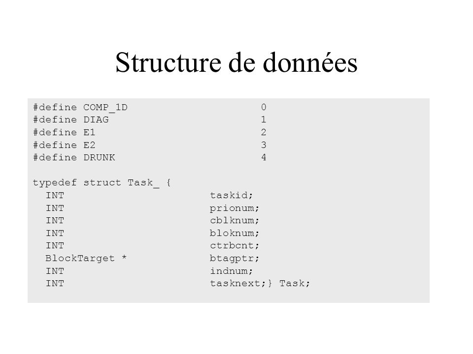 Structure de données #define COMP_1D 0 #define DIAG 1 #define E1 2