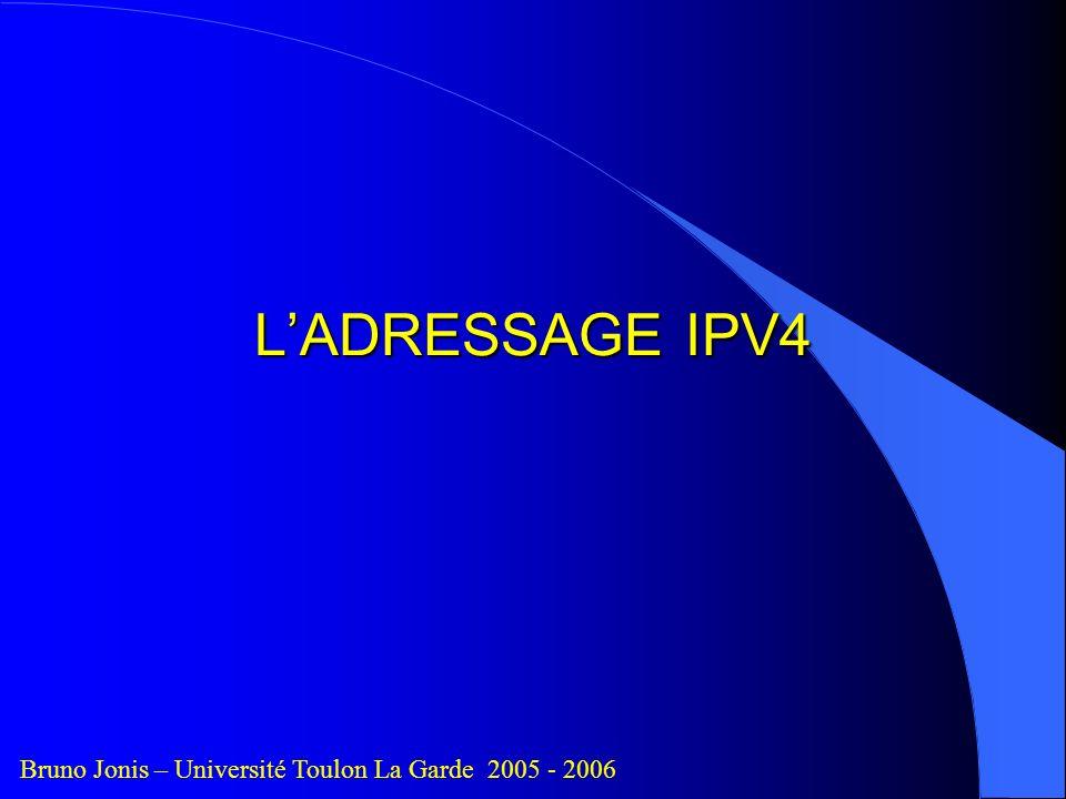 L'ADRESSAGE IPV4 Bruno Jonis – Université Toulon La Garde 2005 - 2006