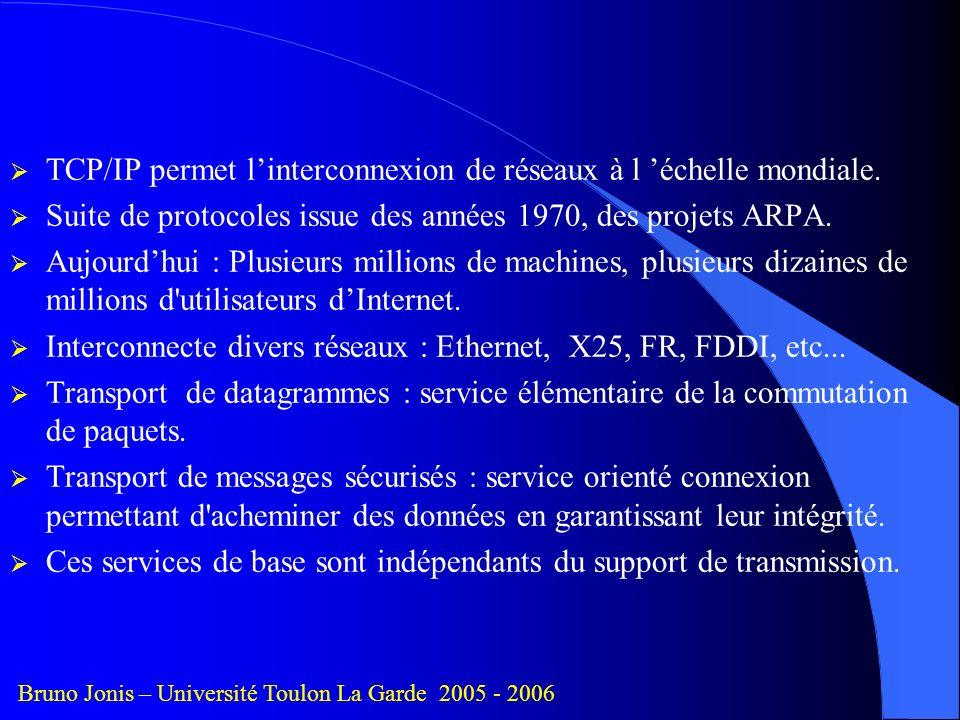 TCP/IP permet l'interconnexion de réseaux à l 'échelle mondiale.