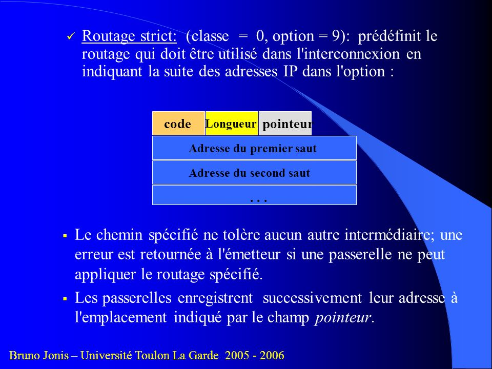 Routage strict: (classe = 0, option = 9): prédéfinit le routage qui doit être utilisé dans l interconnexion en indiquant la suite des adresses IP dans l option :