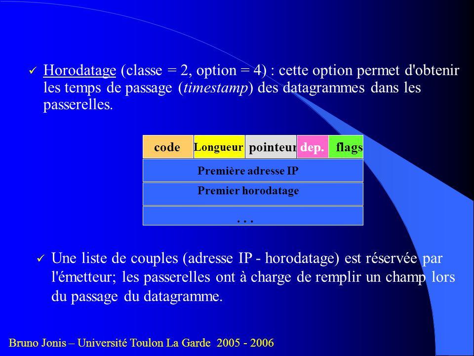 Horodatage (classe = 2, option = 4) : cette option permet d obtenir les temps de passage (timestamp) des datagrammes dans les passerelles.
