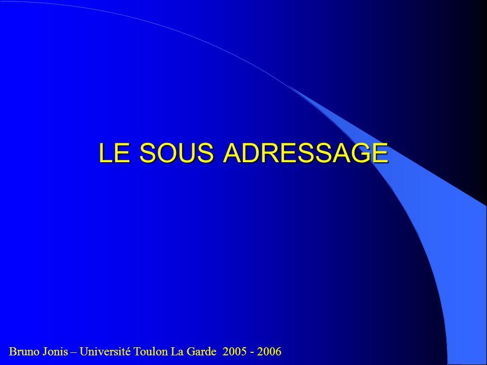 LE SOUS ADRESSAGE Bruno Jonis – Université Toulon La Garde 2005 - 2006
