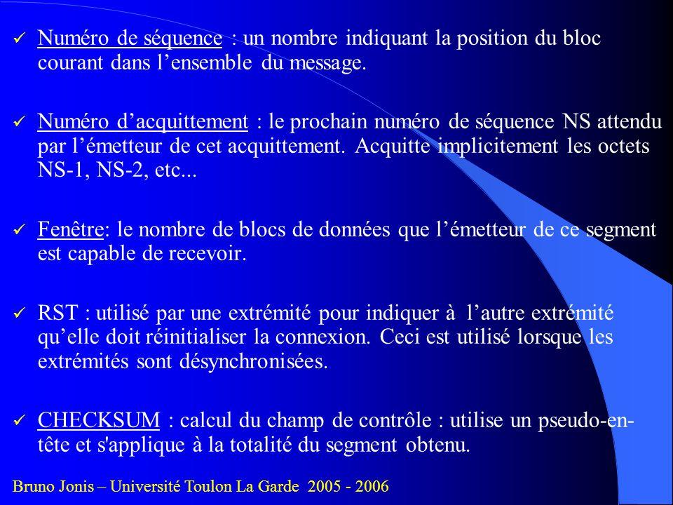Numéro de séquence : un nombre indiquant la position du bloc courant dans l'ensemble du message.