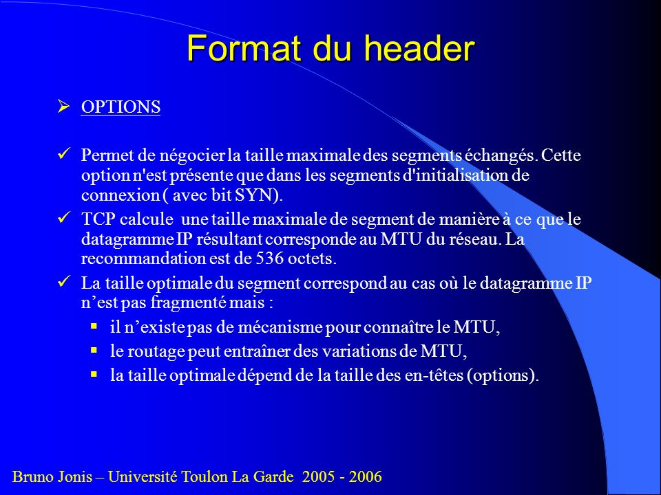 Format du header OPTIONS