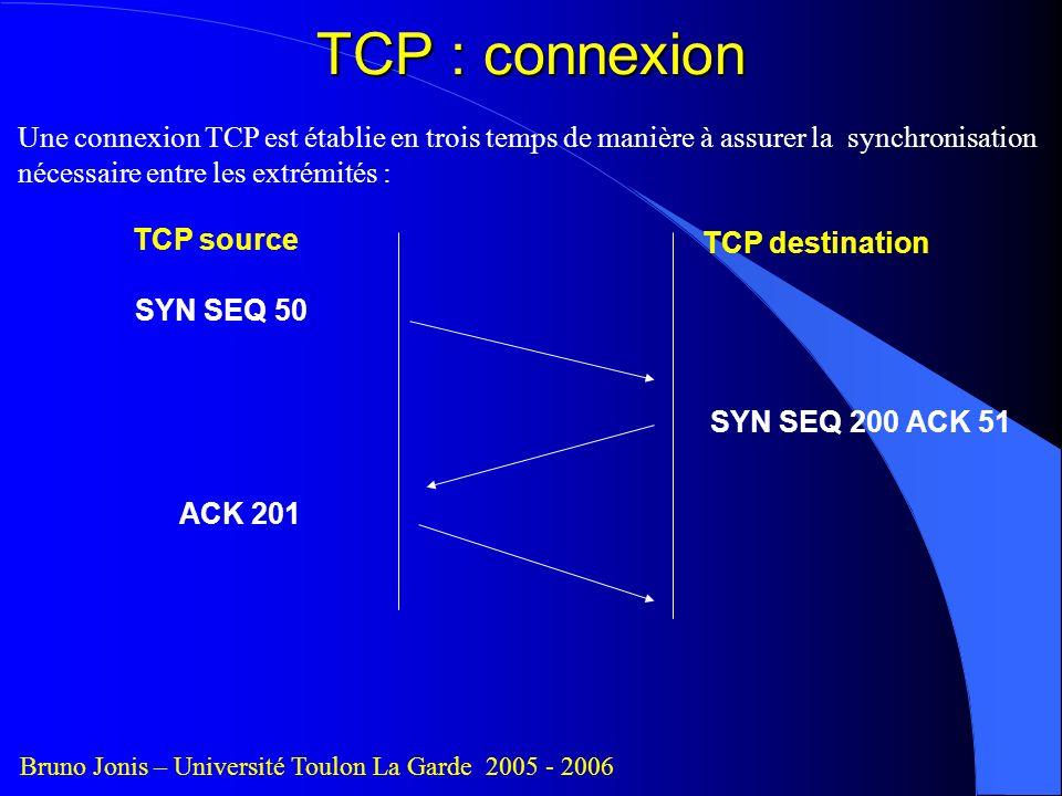 TCP : connexion Une connexion TCP est établie en trois temps de manière à assurer la synchronisation nécessaire entre les extrémités :