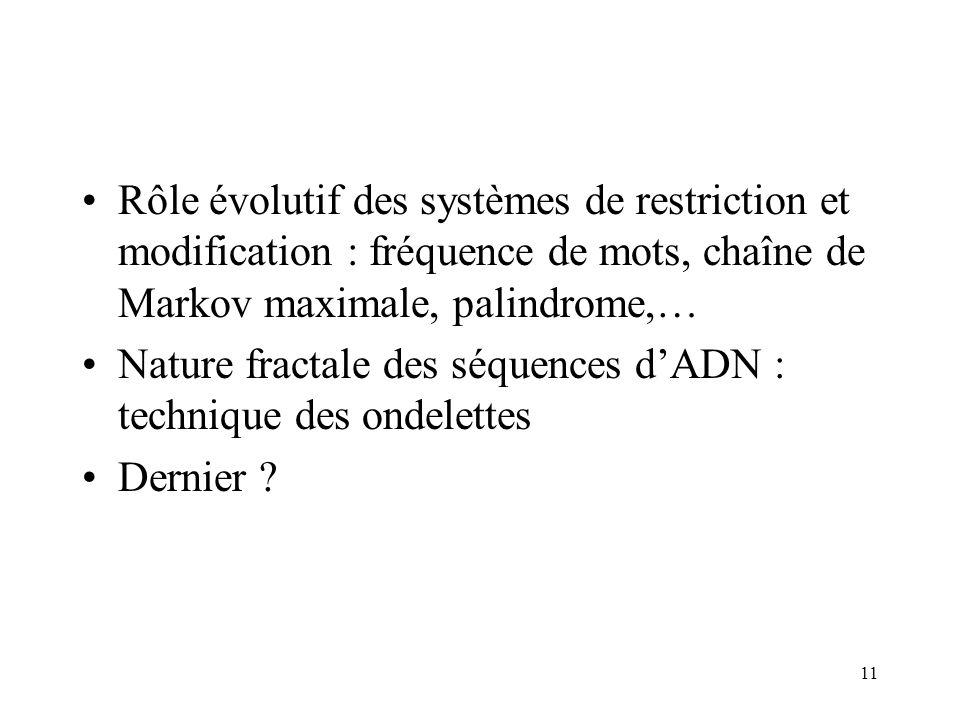 Rôle évolutif des systèmes de restriction et modification : fréquence de mots, chaîne de Markov maximale, palindrome,…