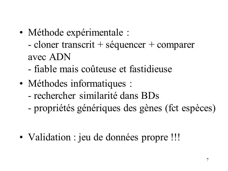Méthode expérimentale : - cloner transcrit + séquencer + comparer avec ADN - fiable mais coûteuse et fastidieuse