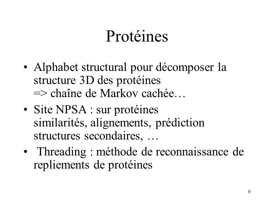 Protéines Alphabet structural pour décomposer la structure 3D des protéines => chaîne de Markov cachée…