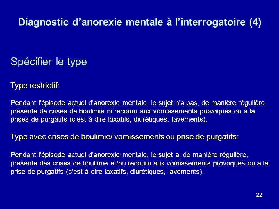 Diagnostic d'anorexie mentale à l'interrogatoire (4)