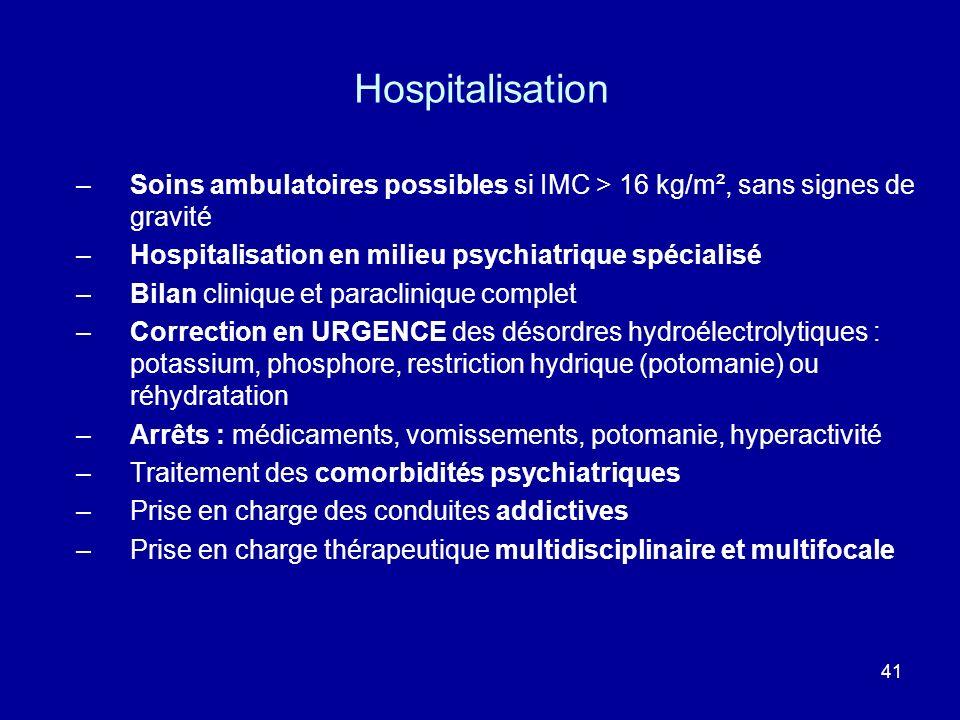 Hospitalisation Soins ambulatoires possibles si IMC > 16 kg/m², sans signes de gravité. Hospitalisation en milieu psychiatrique spécialisé.