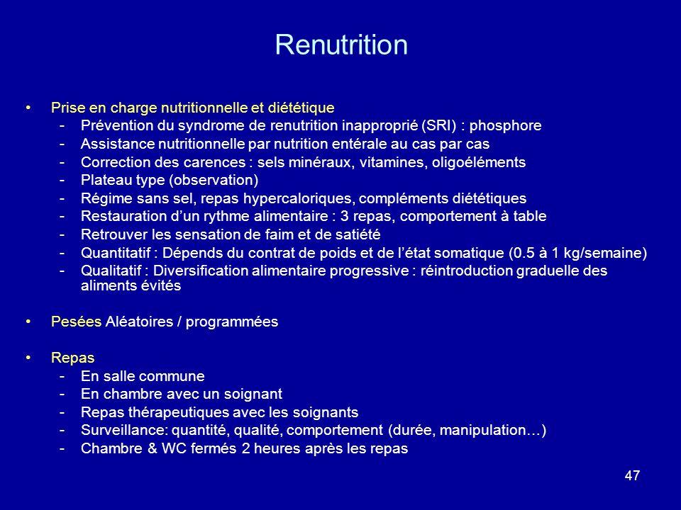 Renutrition Prise en charge nutritionnelle et diététique
