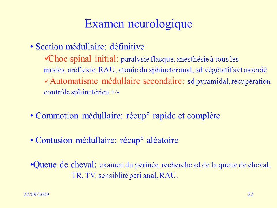 Examen neurologique Section médullaire: définitive