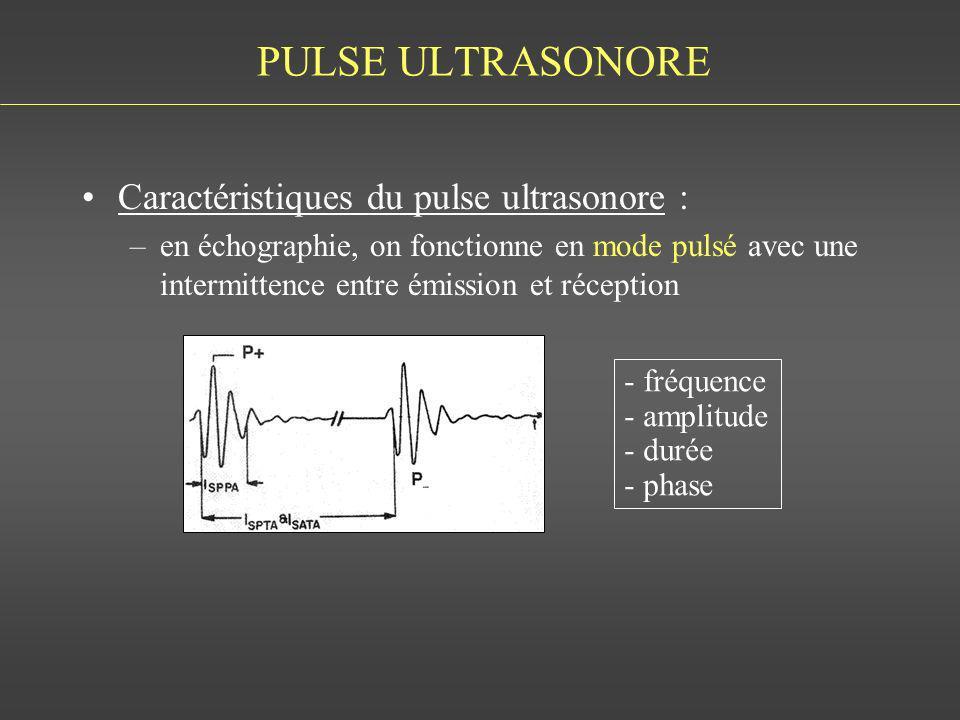 PULSE ULTRASONORE Caractéristiques du pulse ultrasonore :