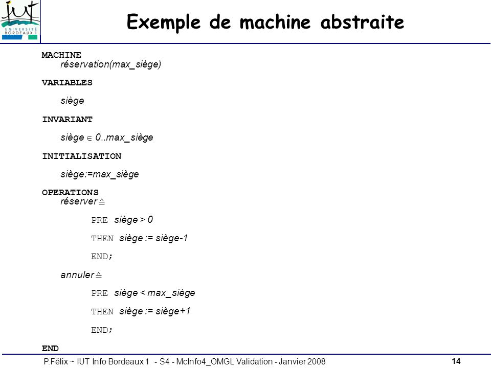 Exemple de machine abstraite