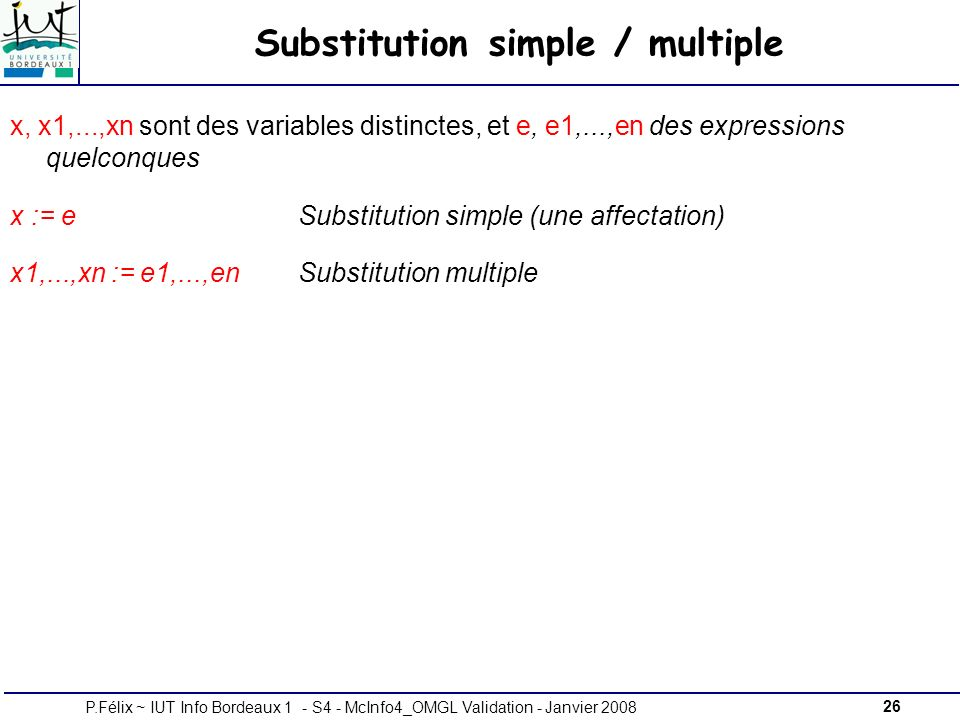 Substitution simple / multiple