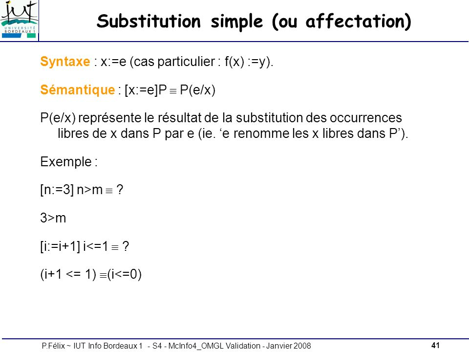 Substitution simple (ou affectation)