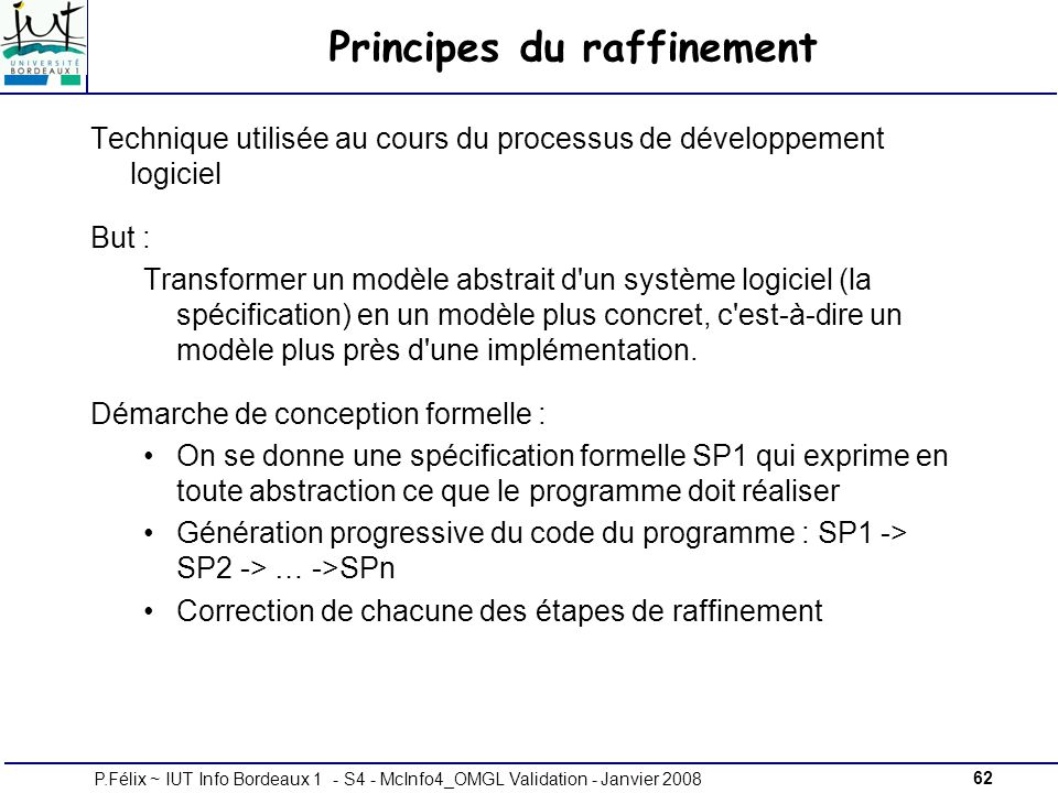 Principes du raffinement
