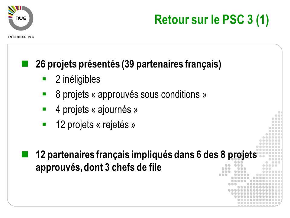 Retour sur le PSC 3 (1) 26 projets présentés (39 partenaires français)