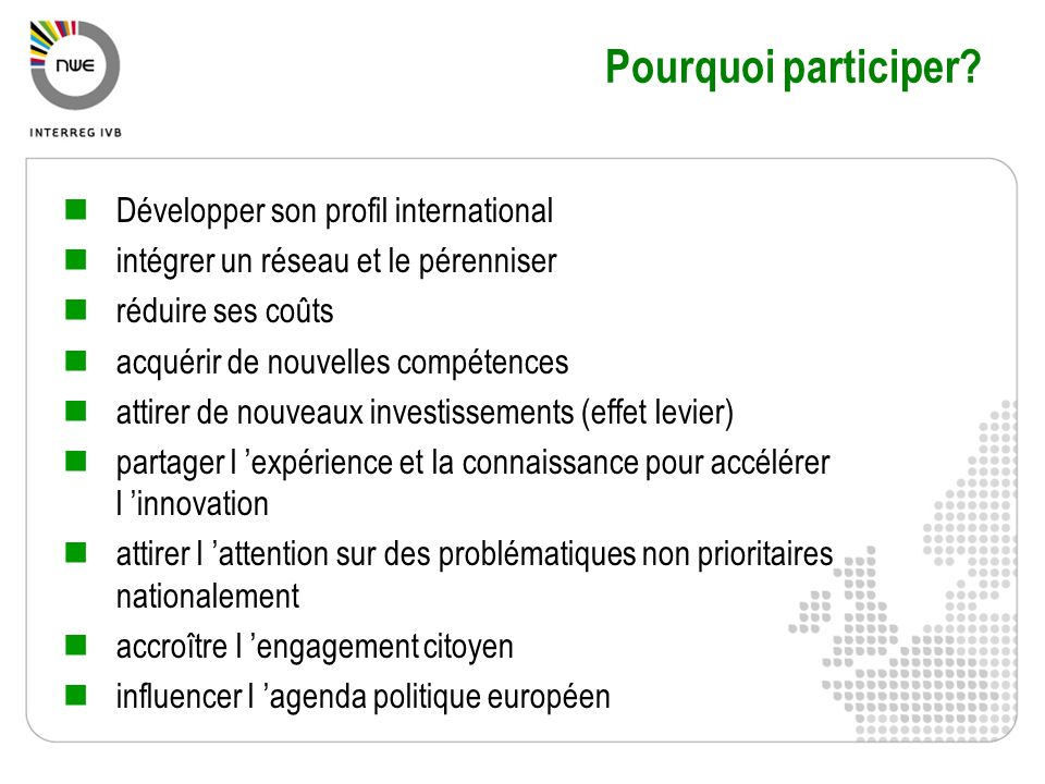 Pourquoi participer Développer son profil international