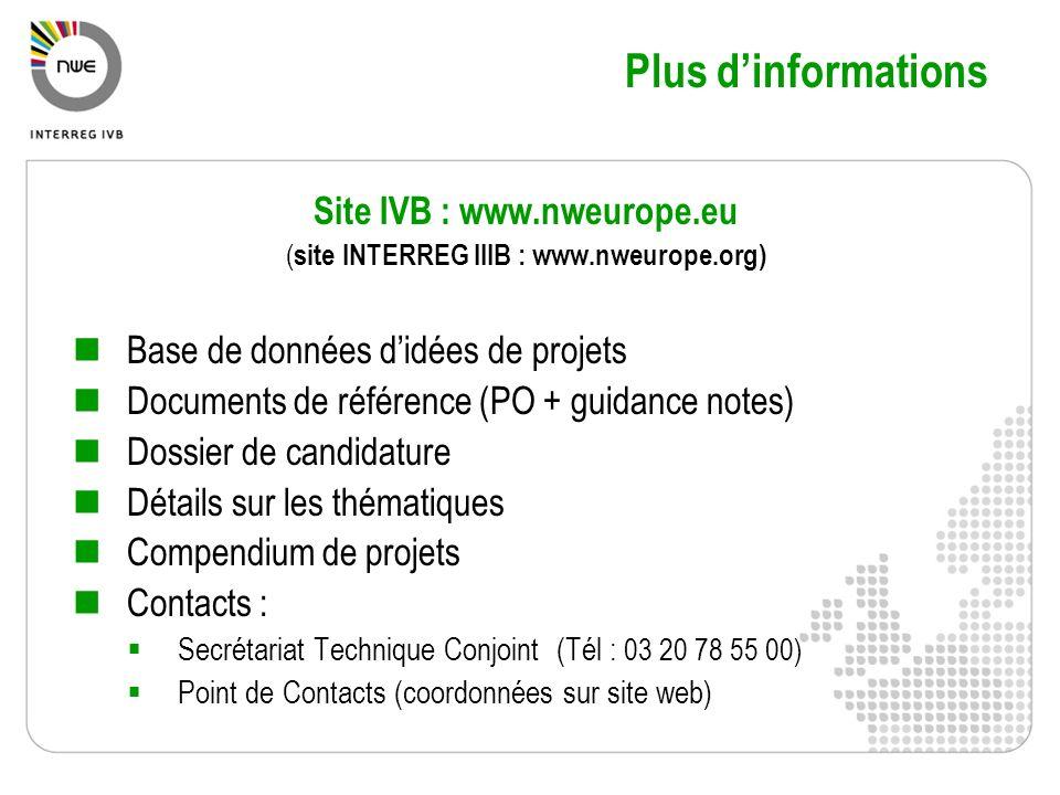 Site IVB : www.nweurope.eu