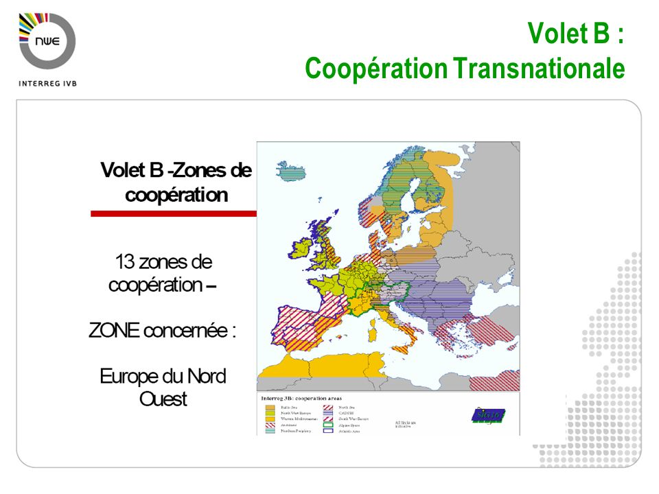Volet B : Coopération Transnationale