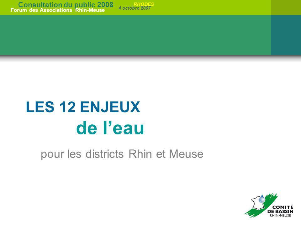 LES 12 ENJEUX de l'eau pour les districts Rhin et Meuse