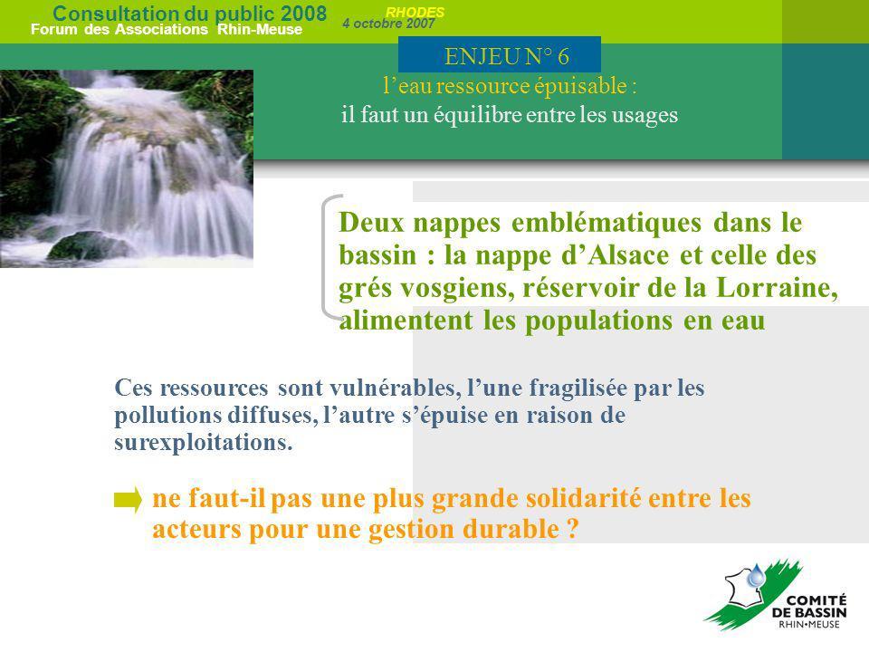 ENJEU N° 6 l'eau ressource épuisable : il faut un équilibre entre les usages