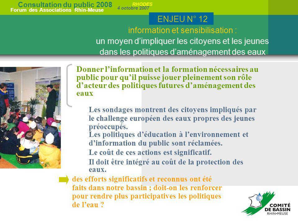ENJEU N° 12 information et sensibilisation : un moyen d'impliquer les citoyens et les jeunes dans les politiques d'aménagement des eaux