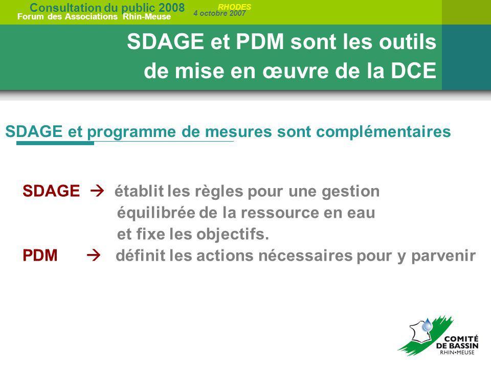 SDAGE et PDM sont les outils de mise en œuvre de la DCE