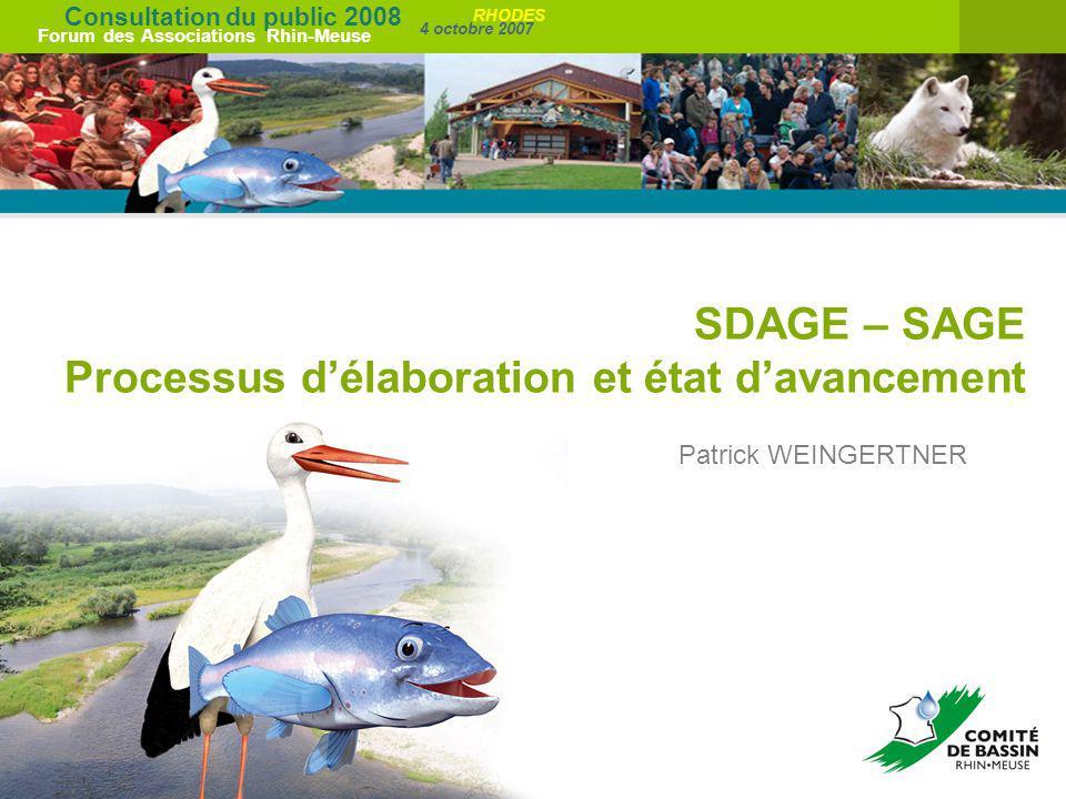 SDAGE – SAGE Processus d'élaboration et état d'avancement