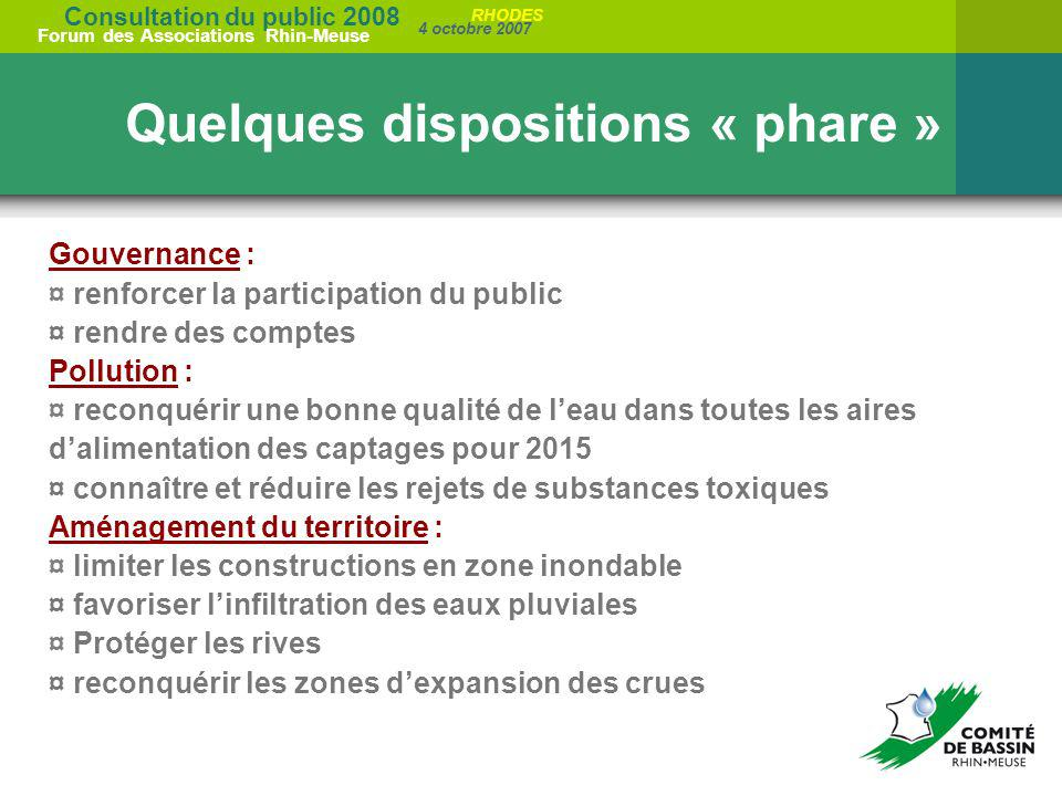 Quelques dispositions « phare »