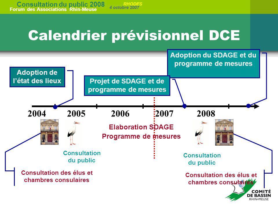 Calendrier prévisionnel DCE
