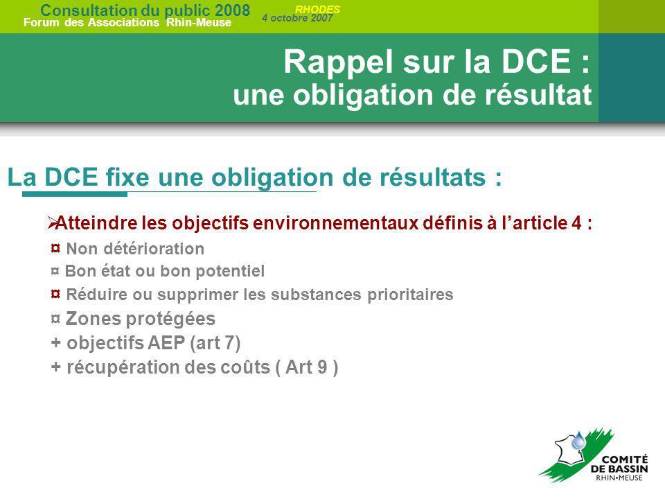 Rappel sur la DCE : une obligation de résultat