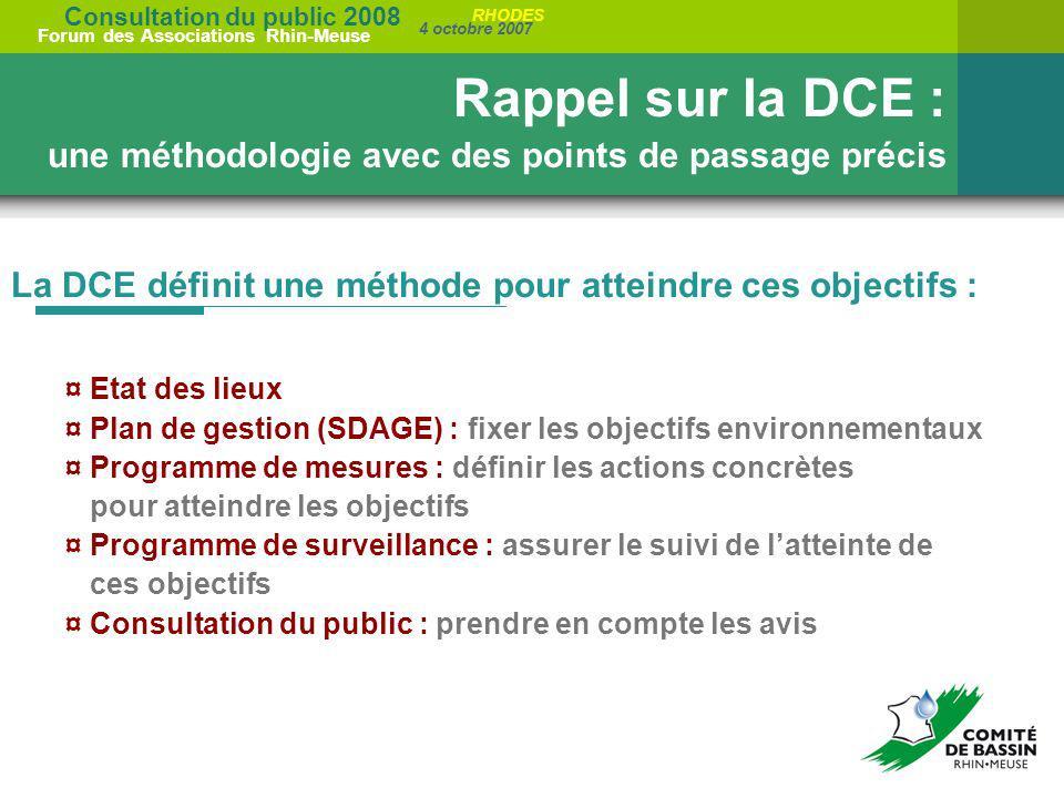 Rappel sur la DCE : une méthodologie avec des points de passage précis
