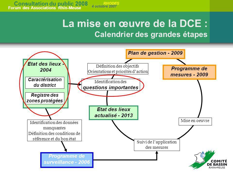 La mise en œuvre de la DCE : Calendrier des grandes étapes