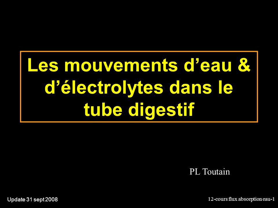 Les mouvements d'eau & d'électrolytes dans le tube digestif