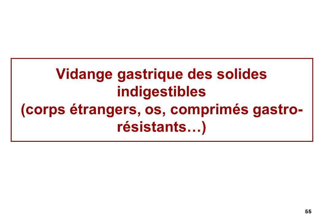 Vidange gastrique des solides indigestibles (corps étrangers, os, comprimés gastro- résistants…)