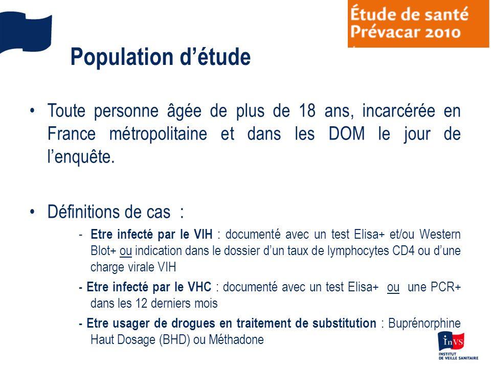 Population d'étudeToute personne âgée de plus de 18 ans, incarcérée en France métropolitaine et dans les DOM le jour de l'enquête.