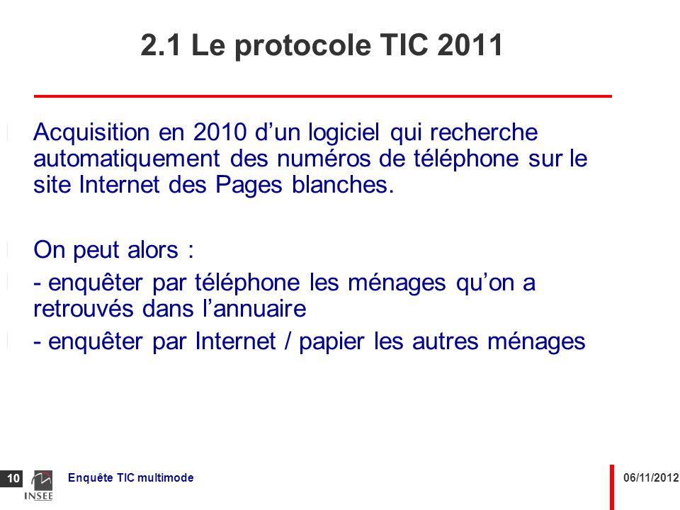 2.1 Le protocole TIC 2011