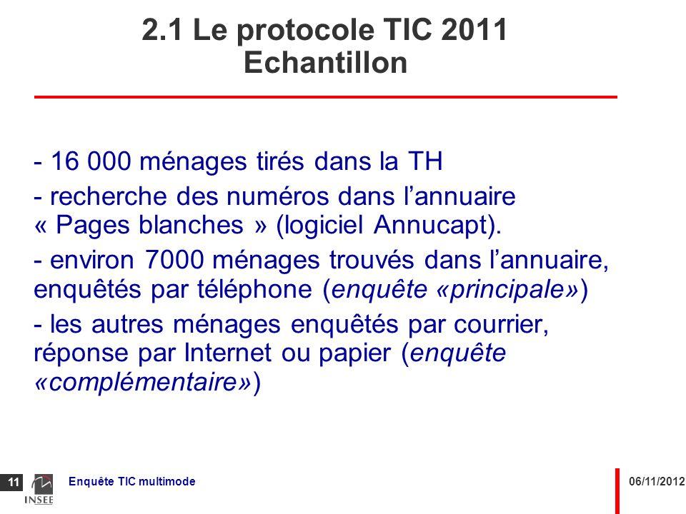 2.1 Le protocole TIC 2011 Echantillon