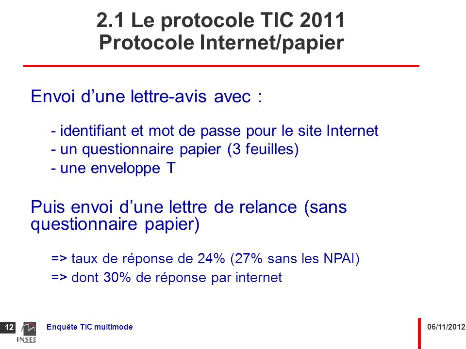 2.1 Le protocole TIC 2011 Protocole Internet/papier