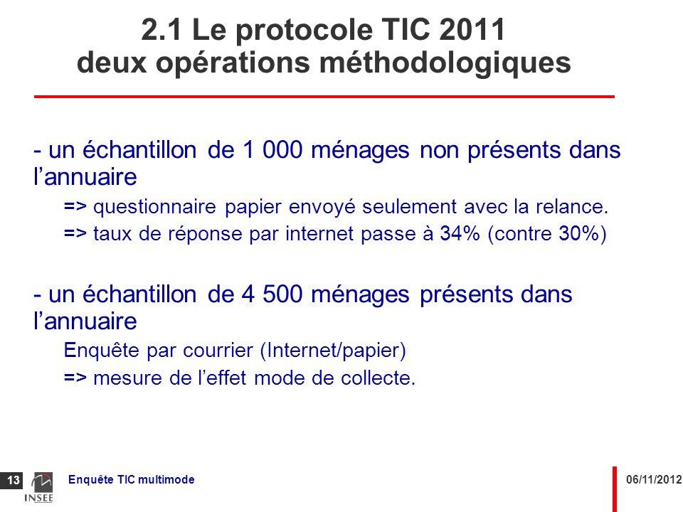 2.1 Le protocole TIC 2011 deux opérations méthodologiques
