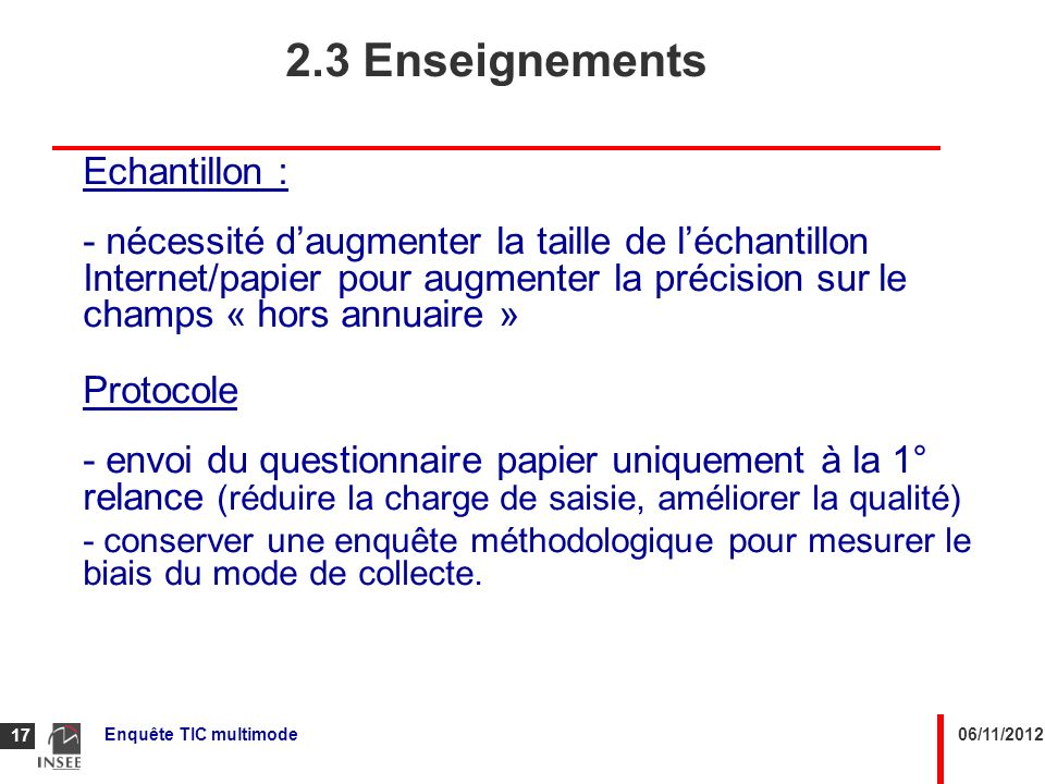 2.3 Enseignements Echantillon :